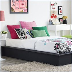 Ameriwood Maven Upholstered Faux Leather Platform Bed With Memory Foam Mattress in Black - Twin