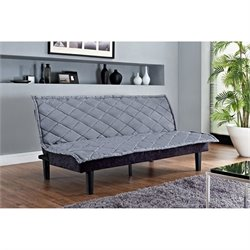 Lancaster Tufted Upholstered Fold Down Futon in Silvery Gray