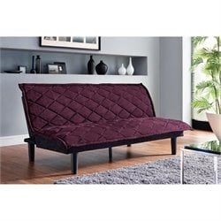 Lancaster Convertible Futon Sofa in Purple and Black