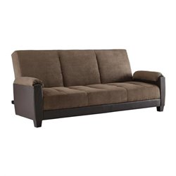 Ameriwood Premium Dallas Fabric Convertible Sofa in Brown