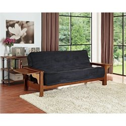 Fabric Convertible Futon Sofa in Brown
