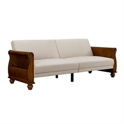 DHP Frisco Splitback Sofa Sleeper with Honeywood Arms with Beige Chenille