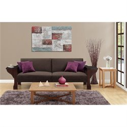 DHP Westwood Splitback Sleeper Sofa with Mahogany Wood and Brown Chenille