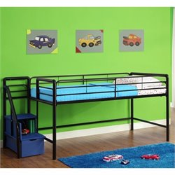 Metal Twin Loft Storage Steps Bed in Black and Blue