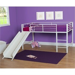 DHP Junior Metal Twin Loft Slide Bed in White