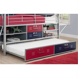 DHP Junior Metal Twin Loft Locker Trundle in Red and Blue