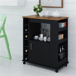 Wood Kitchen Beverage Cart in Black Stipple