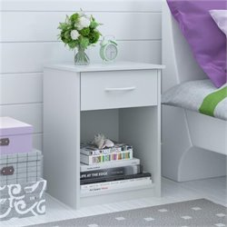 Ameriwood 1 Drawer Wood Nightstand in White Stipple