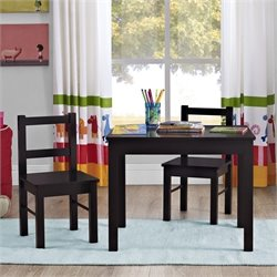 3 Piece Wood Kids Table and Chair Set in Espresso