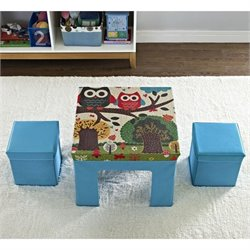 Ameriwood Cosco Owl Pattern Fabric Folding Table and Chair Set in Blue