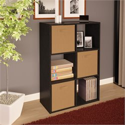 Ameriwood 6 Cube Wood Storage Bookshelf in Black Ebony Ash