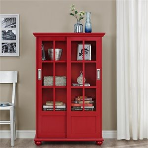 Sliding Glass Door Bookcase in Red