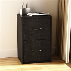 2 Drawer Filing Cabinet in Black Ebony Ash