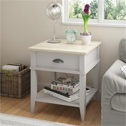 Ameriwood 1 Drawer End Table in Sharkey Gray and Laguna Oak