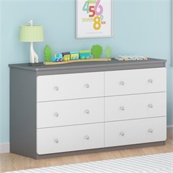 Ameriwood Cosco Willow Lake 6 Drawer Dresser in Light Slate Gray