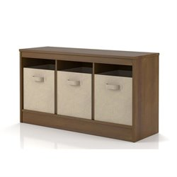 SystemBuild Leo Storage Bench with 3-Fabric Bins in Hazelwood