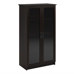 4-Shelf Glass Door Barrister Bookcase in Black Forest