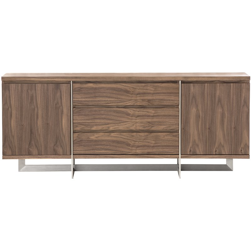 Mobital Remi Buffet in Natural Walnut and Chrome