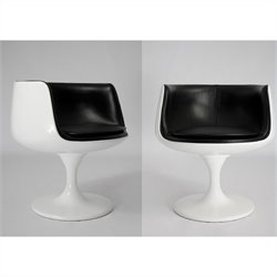 Mobital Beauty Swivel Chair in High Gloss White and Black