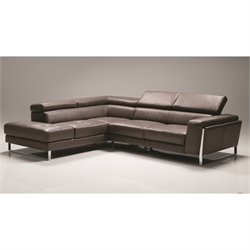 Mobital Ares Leather Left Facing Sectional in Gray
