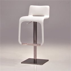Mobital Azure Adjustable Faux Leather Bar Stool in White
