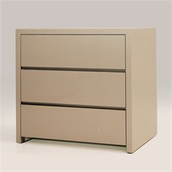 Mobital Blanche 3 Drawer Nightstand in High Gloss Stone
