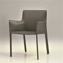 Mobital Fleur Leather Dining Arm Chair in Gray