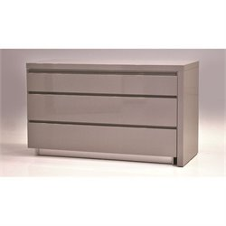 Mobital Savvy 3 Drawer Extension Dresser in High Gloss Gray