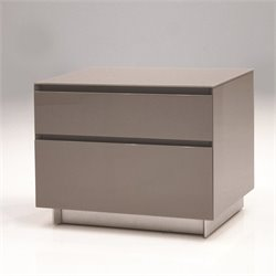 Mobital Savvy 2 Drawer Glass Top Nightstand in High Gloss Gray
