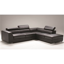 Mobital Icon Leather Sectional with Right Facing Chaise in Black