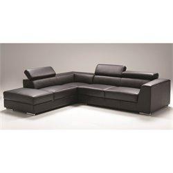 Mobital Icon Leather Sectional with Left Facing Sectional in Black