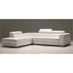 Mobital Icon Leather Left Facing Sectional in Pure White