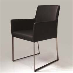 Mobital Tate Faux Leather Dining Arm Chair in Black
