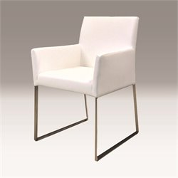 Mobital Tate Faux Leather Dining Arm Chair in White
