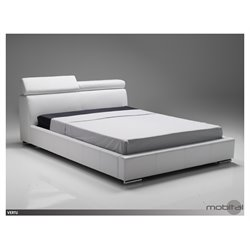 Mobital Vertu Queen Platform Leather Bed in White