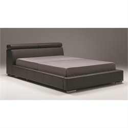 Mobital Vertu Queen Platform Leather Bed in Dark Gray