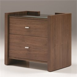 Mobital Diva Glass Top 2 Drawer Nightstand in Natural Walnut