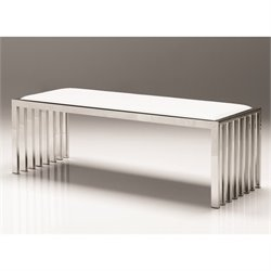 Mobital Kade Faux Leather Bench in White