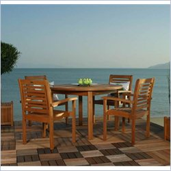 International Home Amazonia 5 Piece Wood Patio Dining Set in Brown