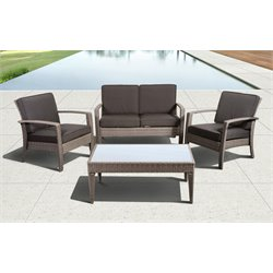 Florida Deluxe 4 pc Wicker Patio Set with Grey Cushions in Grey