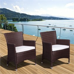 Liberty Set of 2 Deluxe Patio Wicker Armchair in Brown
