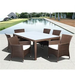 International Home Liberty 7 Piece Wicker Patio Dining Set in Brown