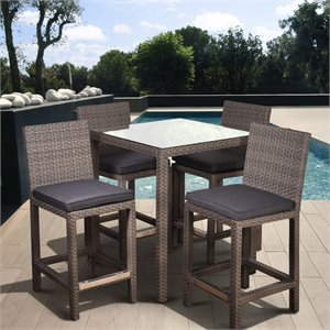 Monza Square 5 pc Patio Bar Set in Grey with Grey Cushions