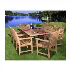 International Home Amazonia 9 Piece Wood Patio Dining Set in Teak