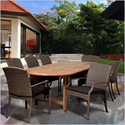 International Home Amazonia Teak 9 Piece Extendable Patio Dining Set