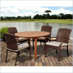 International Home Amazonia 5 Piece Round Patio Dining Set in Brown