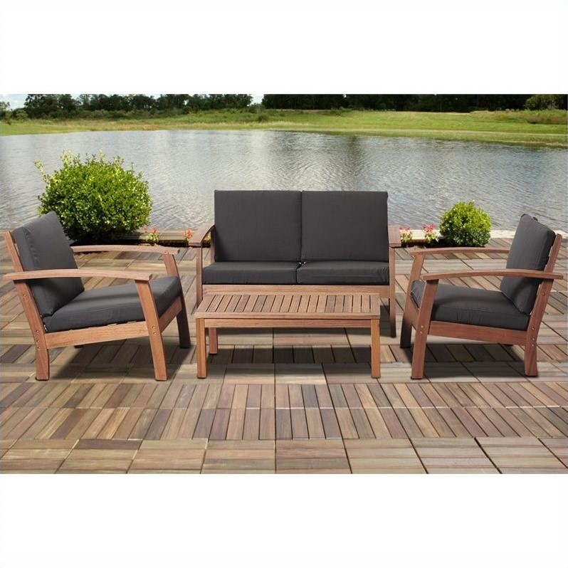 International Home Amazonia 4 Piece Outdoor Sofa Set in