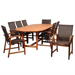 International Home Amazonia 9 Piece Extendable Oval Patio Dining Set