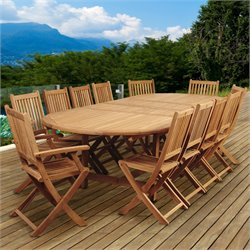 International Home Amazonia Teak 13 Piece Extendable Patio Dining Set