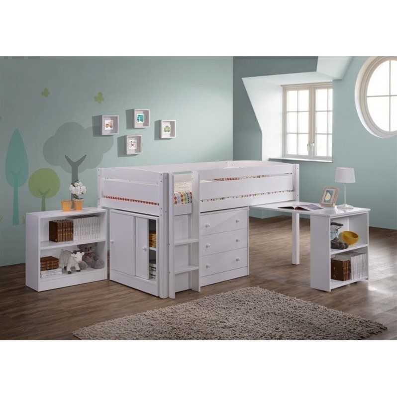Canwood Whistler Junior Wood Loft Bunk Bed in White